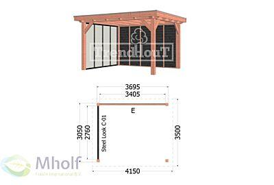 1. Buitenverblijf Siena 4150x3500x2500mm (bxdxh) Mholf.nl