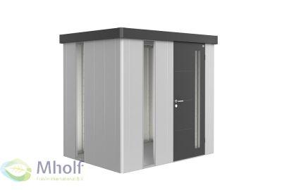 Biohert-tuinhuis-Neo_1B_zilvergrijs met donkergrijze-deur