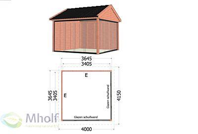 Buitenverblijf Zadeldak Betula 1 -  4000x4150x3350mm