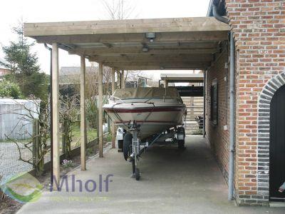 Maatwerk aanbouw carport met plat dak 360x486cm