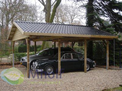 Maatwerk dubbele carport met zadeldak 600x654cm