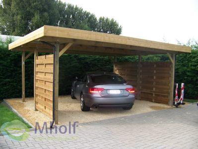 Maatwerk dubbele carport met plat dak 602x661cm