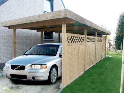 Maatwerk enkele carport met plat dak 362x661cm