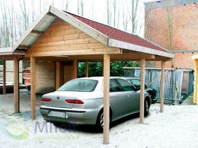 Maatwerk enkele carport met zadeldak 364x654cm