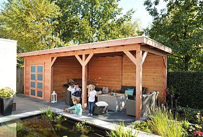 Hillhout tuinhuis met luifel 6m