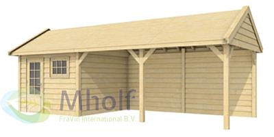 Zweeds Topvision tuinhuis Witte Wolf 810x372cm met 500cm luifel