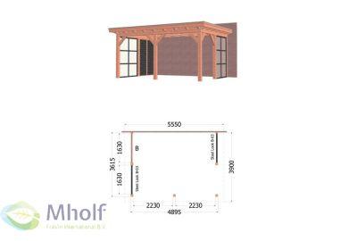 Trendhout Lucca Aanbouwveranda (555x390cm) - Uitvoering 2