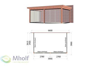 Trendhout Lucca Aanbouwveranda (660x390cm) - Uitvoering 3