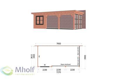 Trendhout Lucca Aanbouwveranda (795x390cm) - Uitvoering 5