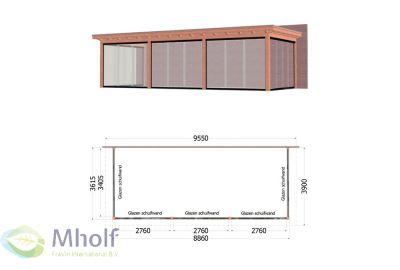 Trendhout Lucca Aanbouwveranda (955x390cm) - Uitvoering 6