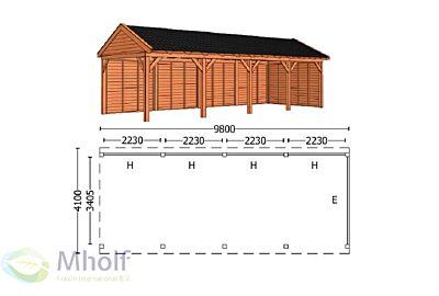 Trendhout Zadeldak L 9800mm (2)
