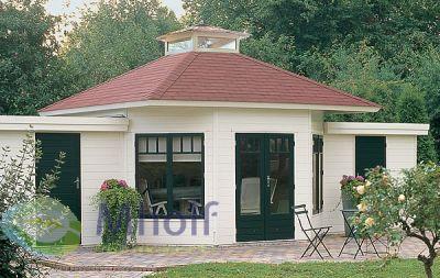 Blokhut zeshoek Prima Eline met lichtkoepel 420x420cm